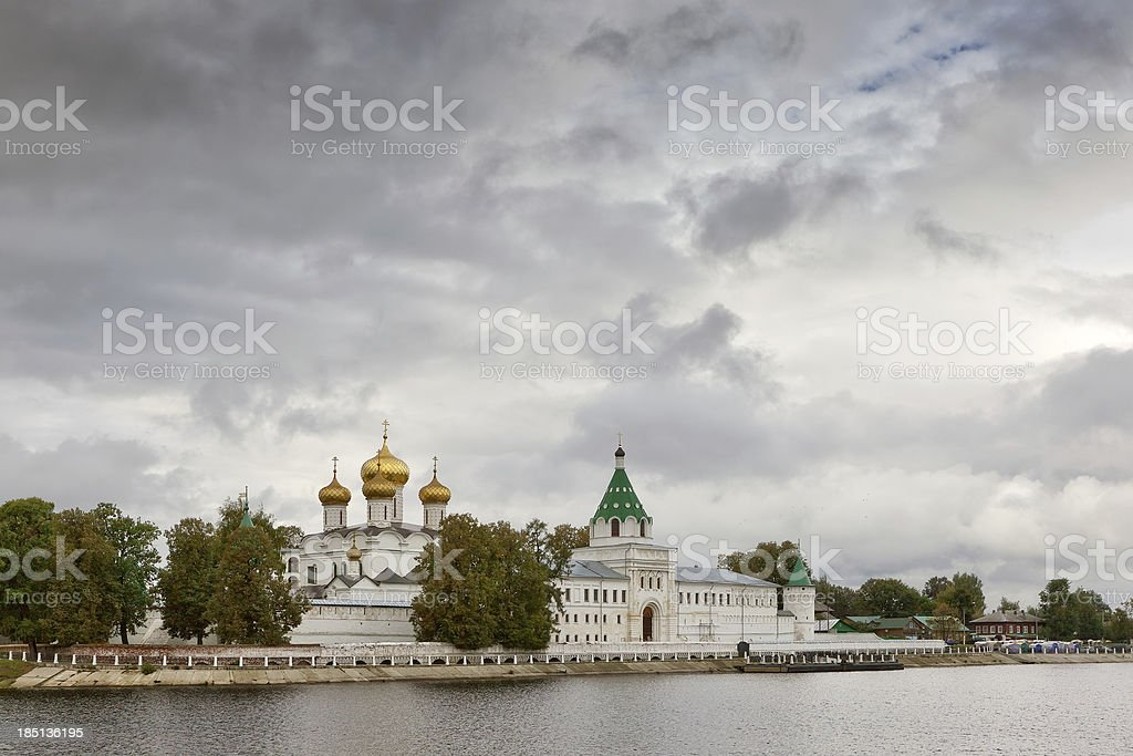 Ipatievsky monastery from Volga river stock photo