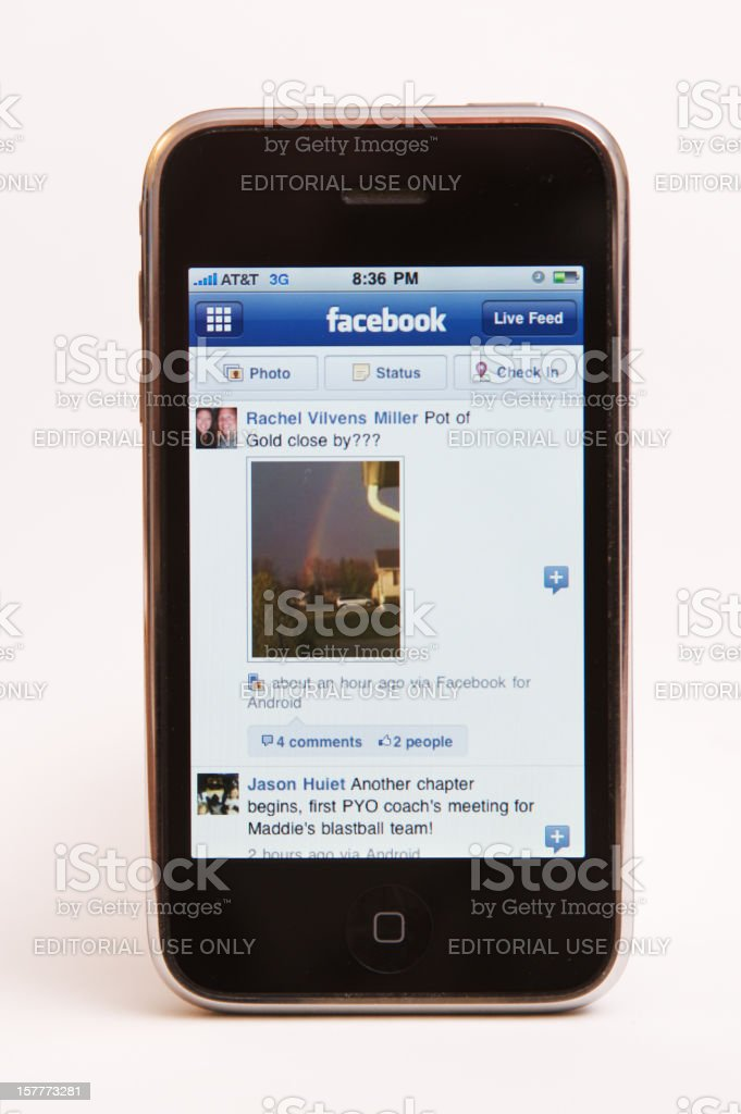 iphone 3G with Facebook App royalty-free stock photo