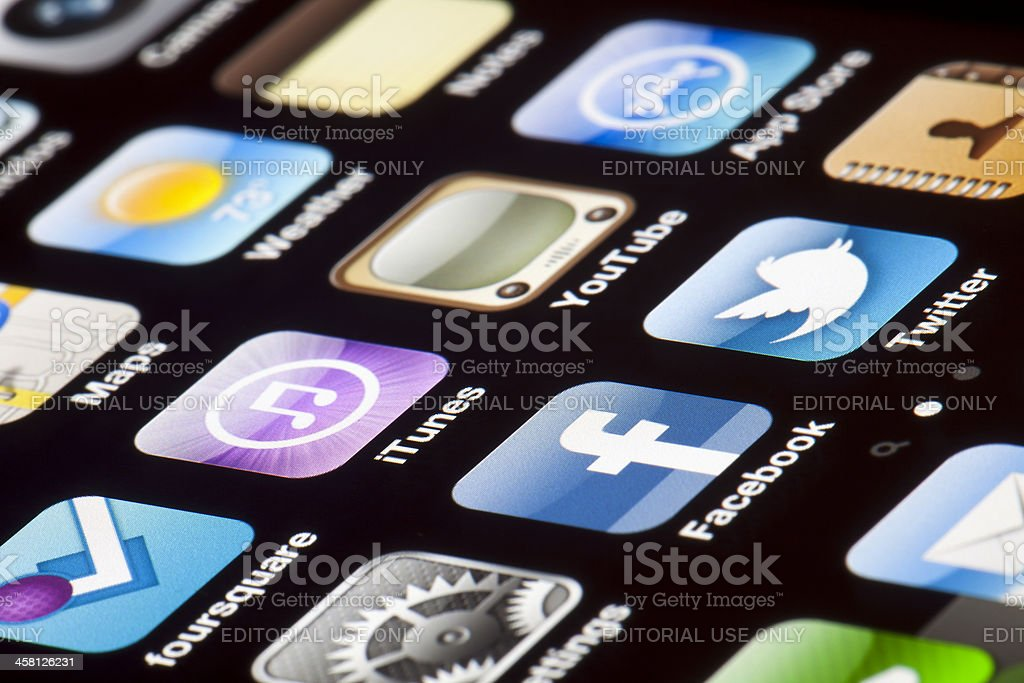 iPhone 4 - Apps Macro royalty-free stock photo