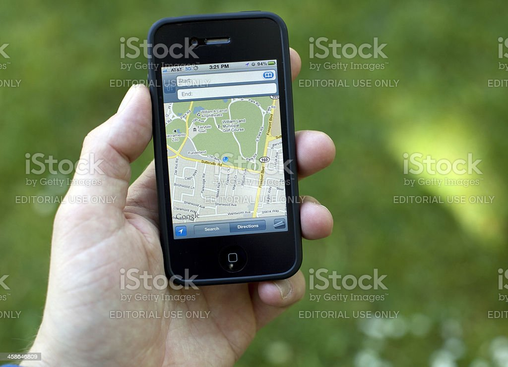 iPhone 4 Google Maps royalty-free stock photo