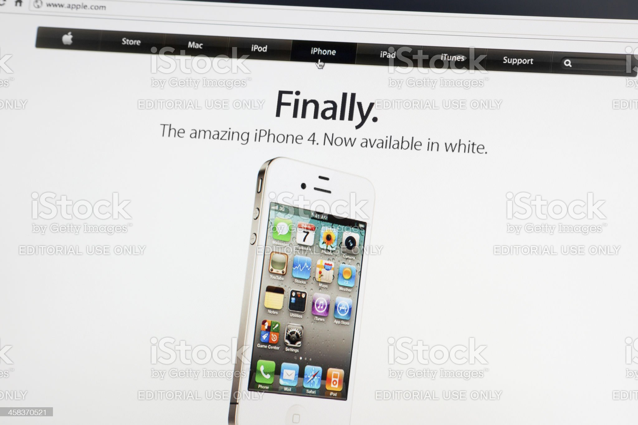 iPhone 4 on Apple.com Website royalty-free stock photo