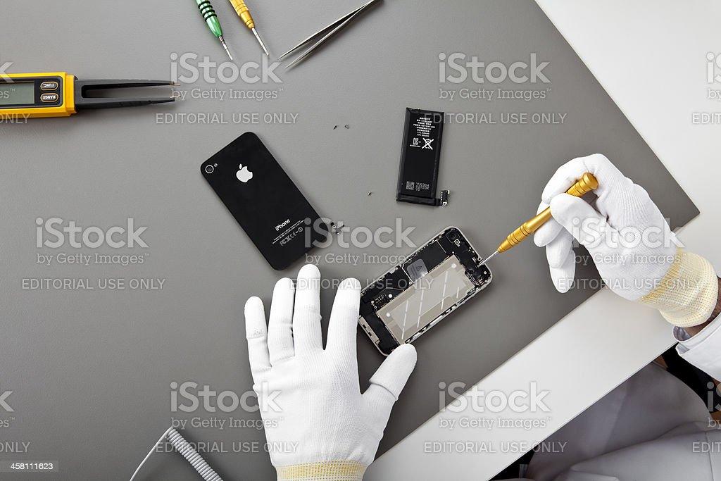 Iphone 4 repairing stock photo