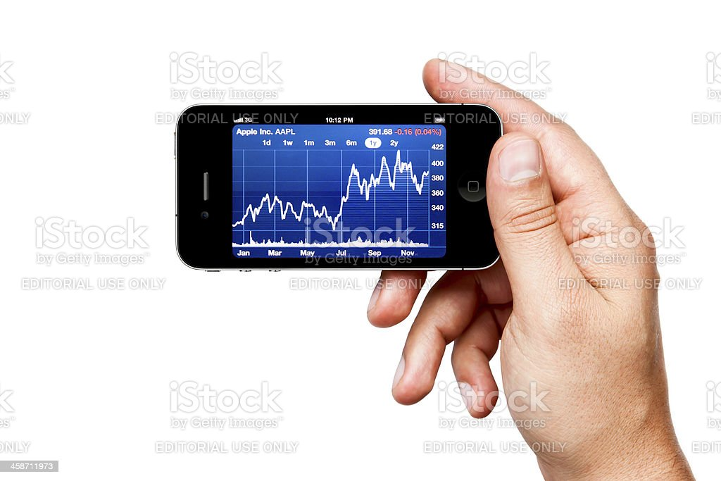 iPhone 4 with Apple Inc. Stock Chart royalty-free stock photo