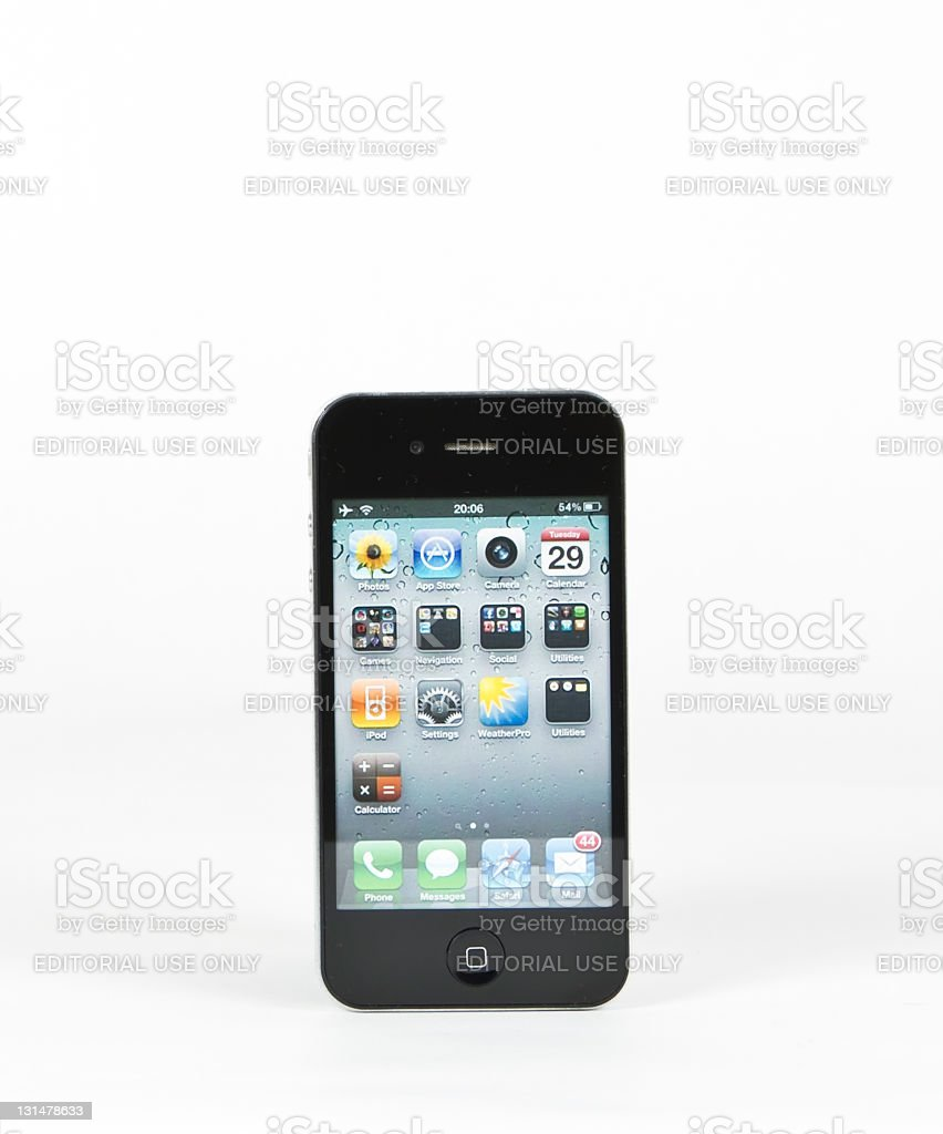 iPhone 4 with Home Screen royalty-free stock photo