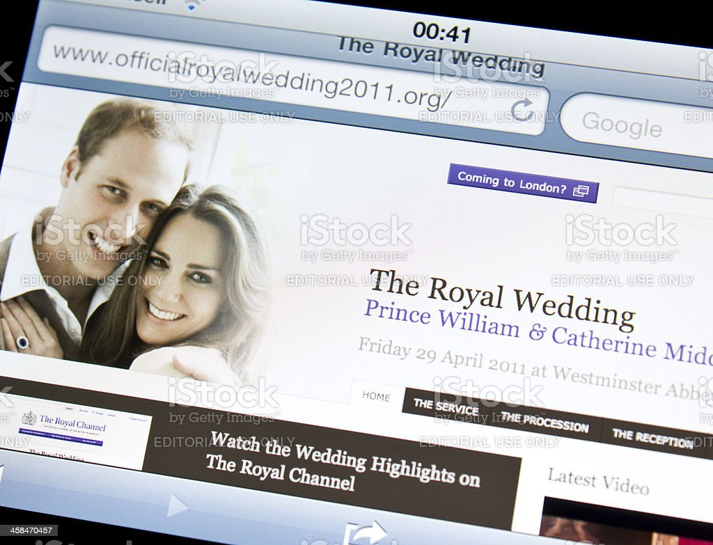 Iphone 4 with Royal Wedding website on screen stock photo