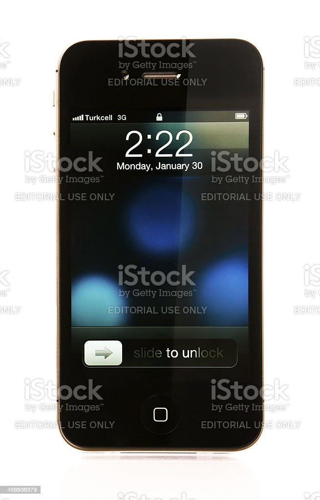iPhone 4S Lock Screen royalty-free stock photo