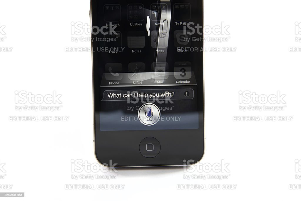 iPhone 4S - What can I help you with ? royalty-free stock photo