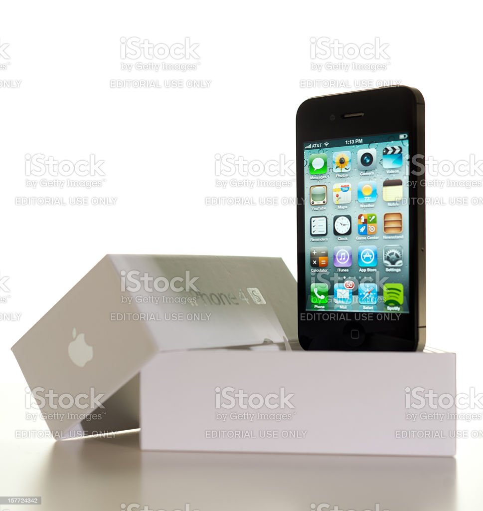 Iphone 4s with box royalty-free stock photo