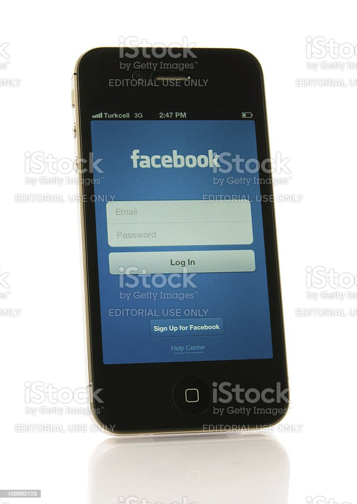 iPhone 4S with Facebook Application stock photo
