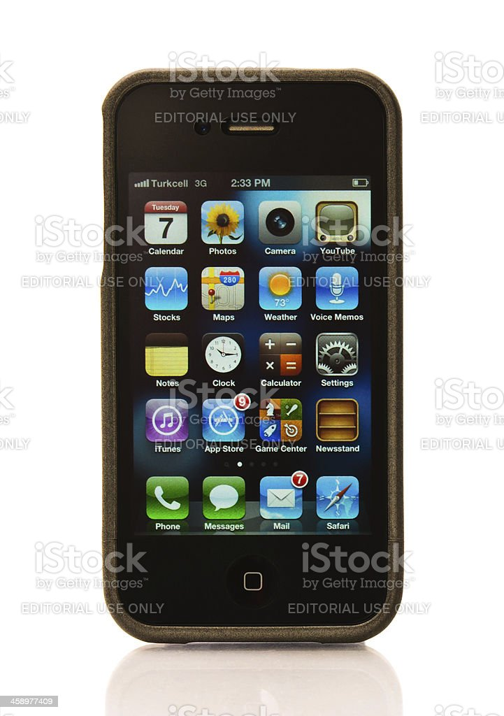iPhone 4S with protector case stock photo