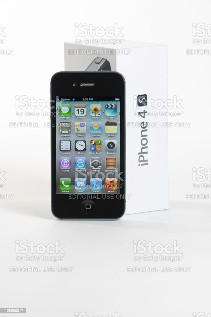 iPhone 4S with three Clipping Paths royalty-free stock photo