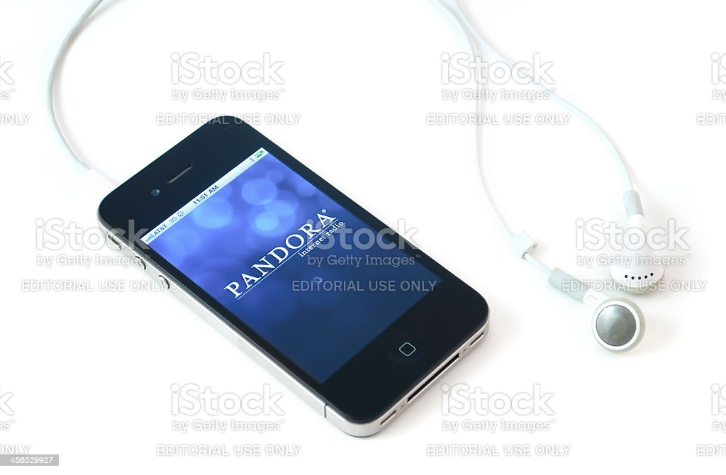 Iphone 4th with Pandora on the screen stock photo