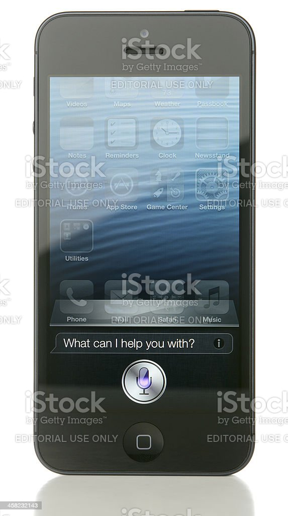 iPhone 5 Displaying Siri stock photo