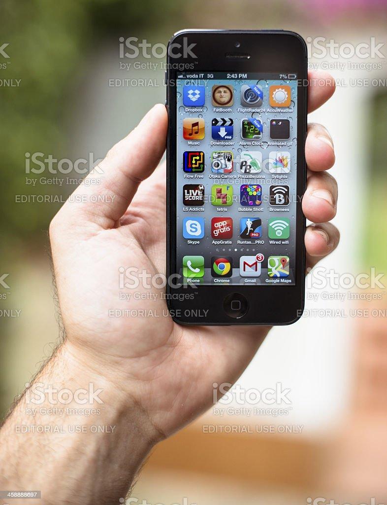 iPhone 5 home screen stock photo