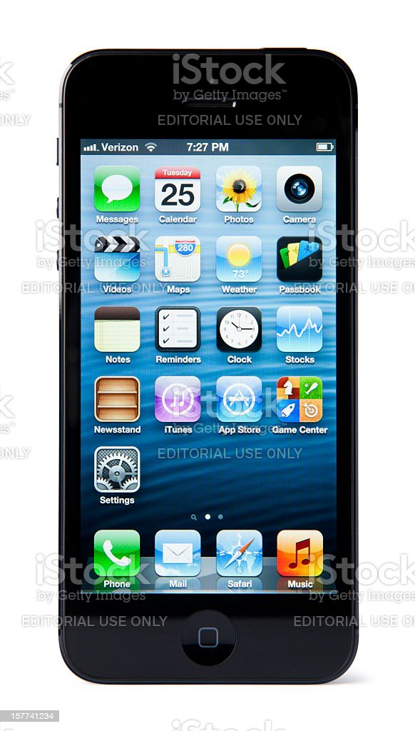 iPhone 5 with Clipping Paths - Black and Slate royalty-free stock photo