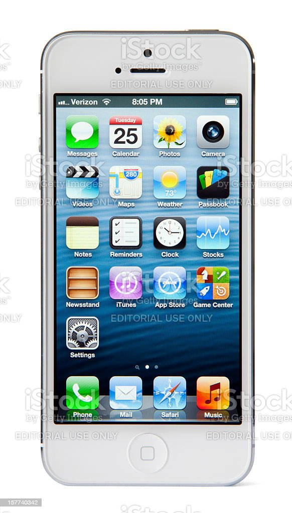 iPhone 5 with Clipping Paths - White and Silver royalty-free stock photo