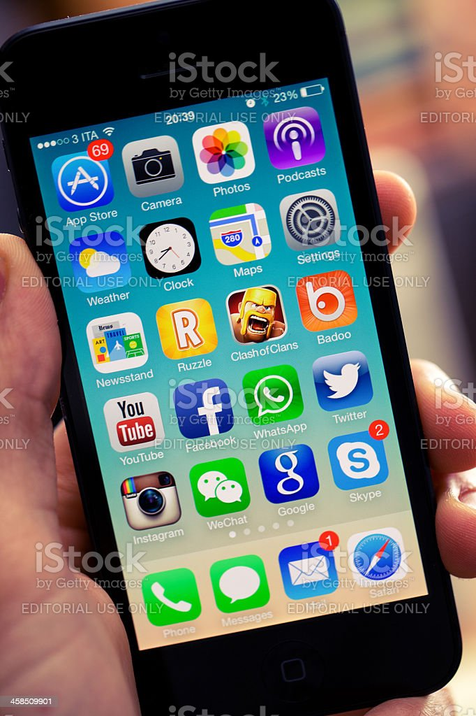 Iphone 5 with the new IOS 7 stock photo