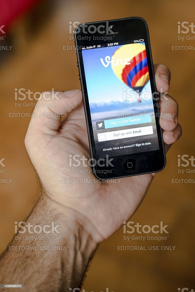 iPhone 5 with vine app royalty-free stock photo