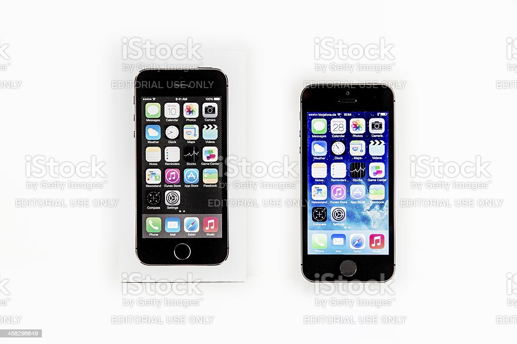 iPhone 5s with Apple iOS7 and Packaging royalty-free stock photo