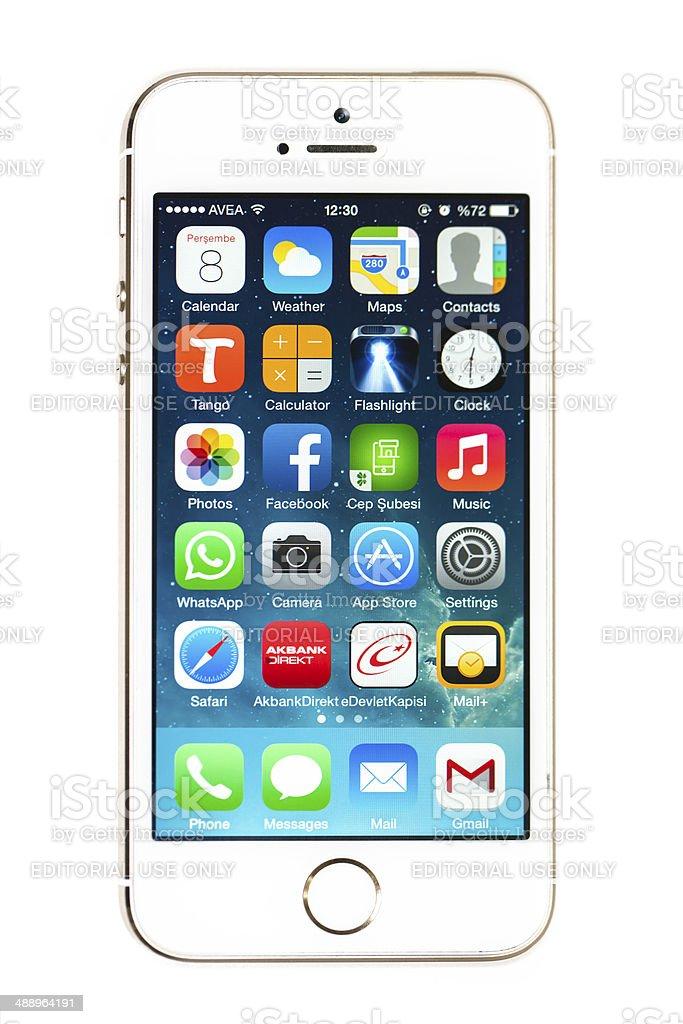 iPhone 5s with iOS7 stock photo