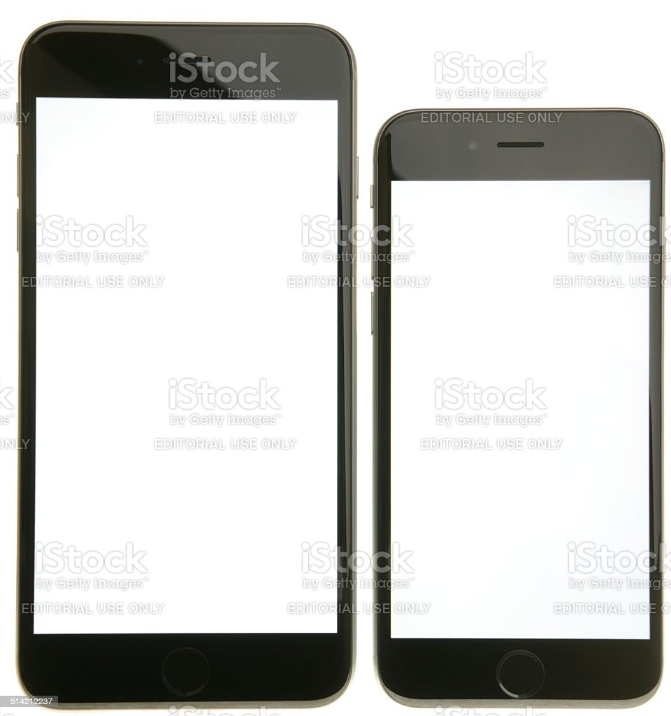 iPhone 6 and 6 Plus with Blank White Screen stock photo