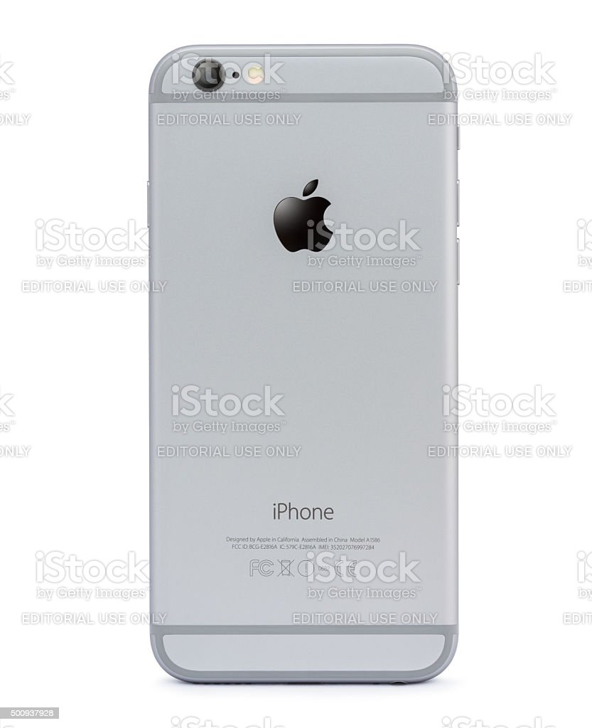 iphone 6 back side isolated on white stock photo