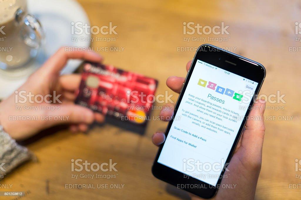 iPhone 6 Passes app stock photo