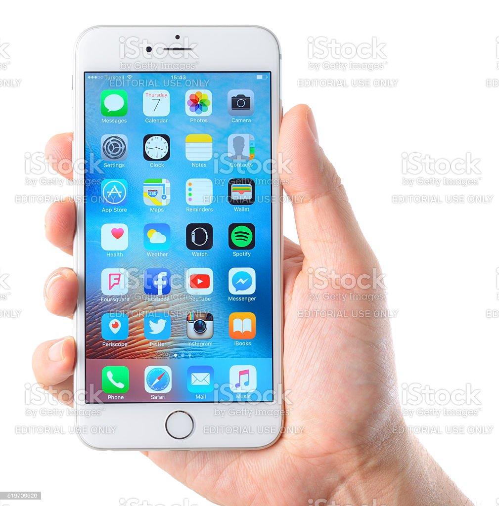 iPhone 6 Plus smart phone on hand stock photo