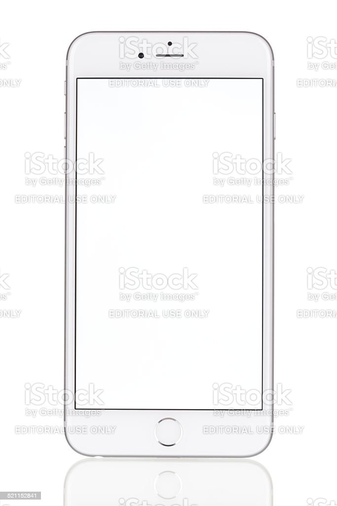 iPhone 6 Plus with blank screen product shot, white background stock photo