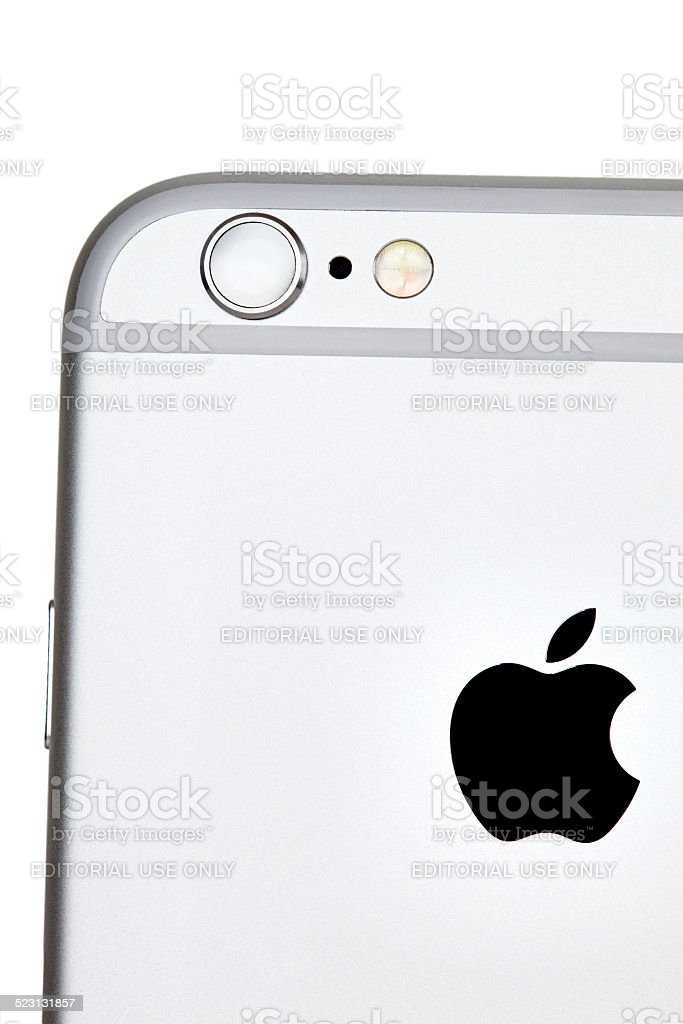 iPhone 6 Silver Back Showing Camera Isolated Close-Up stock photo
