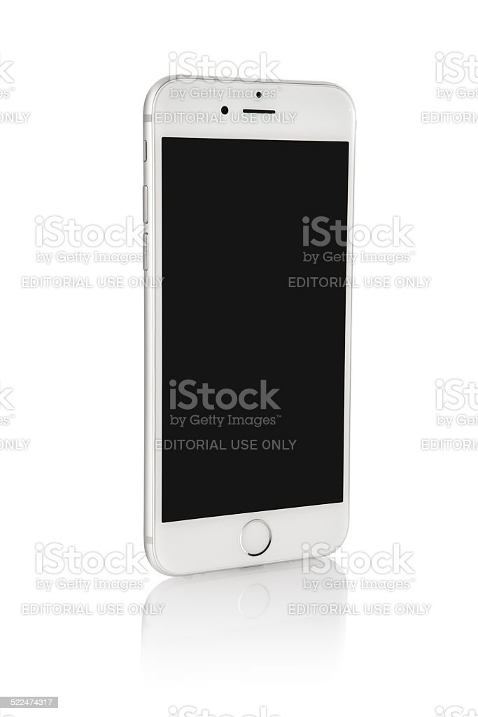 iPhone 6 Silver On White Background stock photo