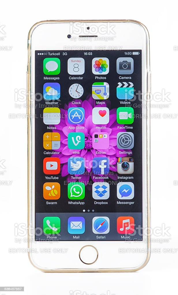 iPhone 6 with protector case on white stock photo