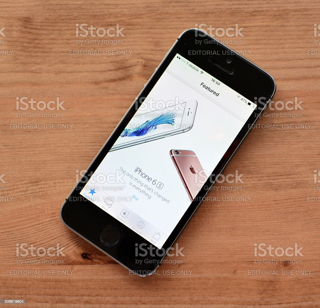 Iphone 6s advertisement on old iphone stock photo