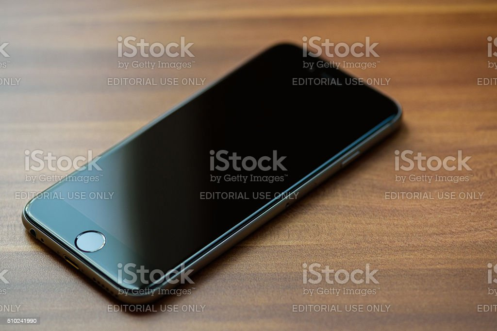 iPhone 6s Space Gray on the table stock photo