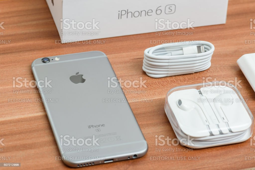 Iphone 6s Space Gray unboxing stock photo