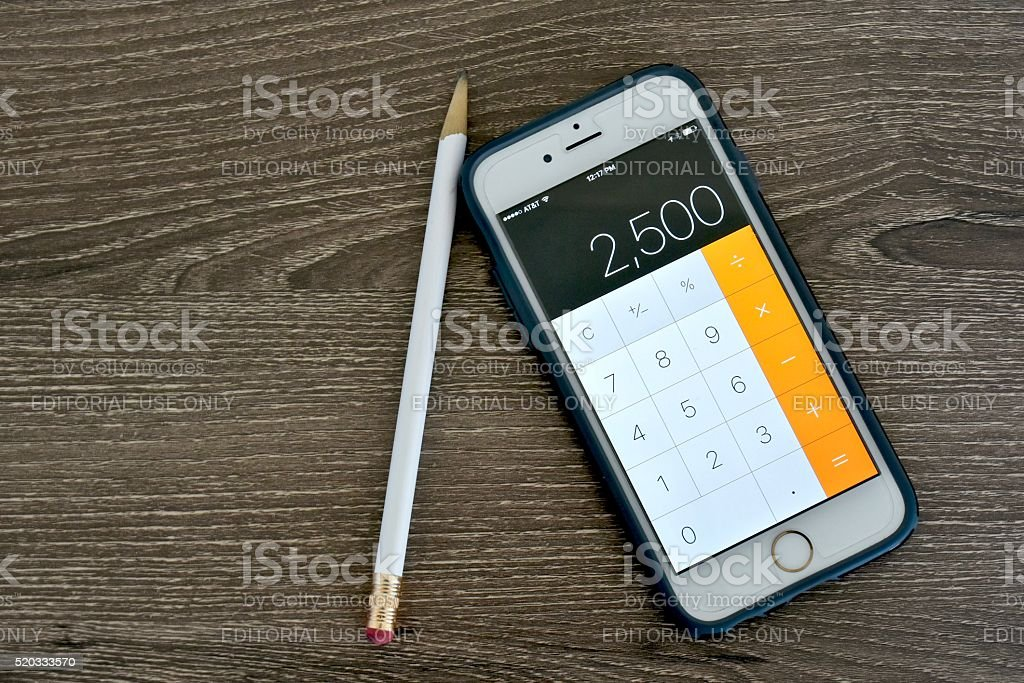Iphone 6s with calculator application stock photo