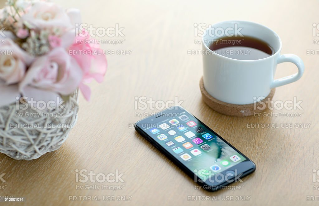 iPhone 7 Black with apps on screen stock photo