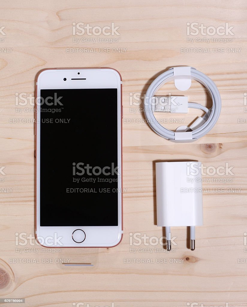 iphone 7 phone charger with charger cable stock photo