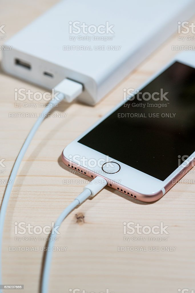 iphone 7 phone charger with power bank stock photo
