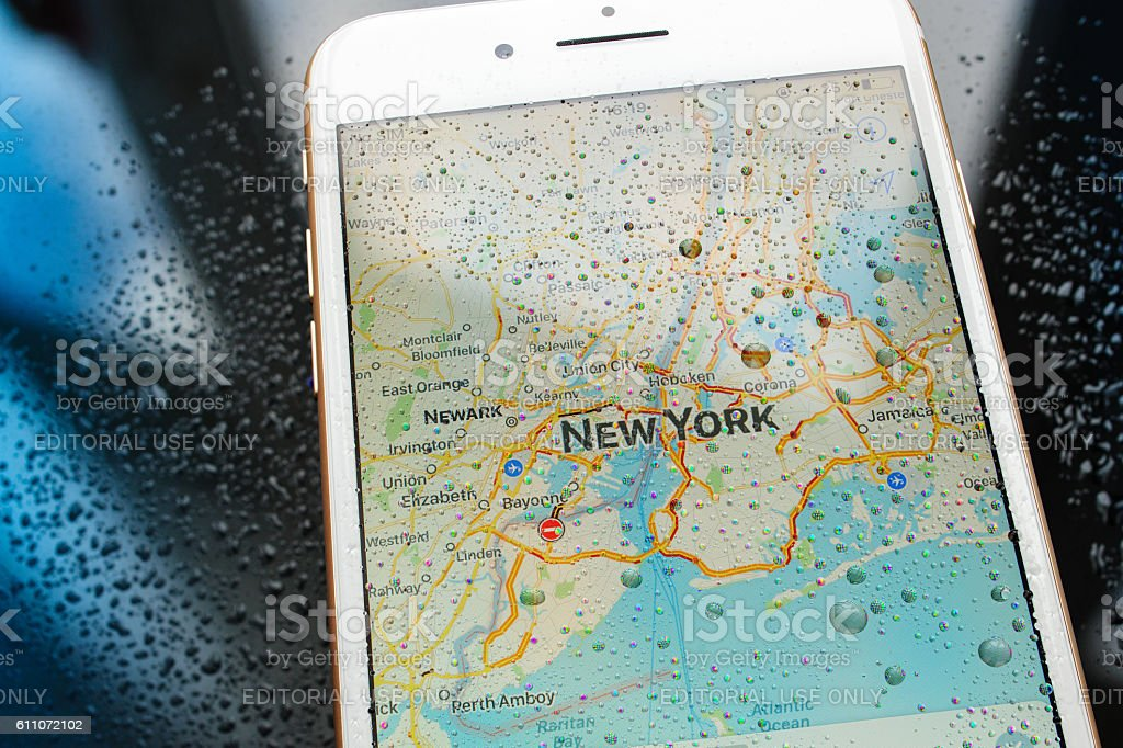 iPhone 7 Plus waterproof New York map in maps apps stock photo
