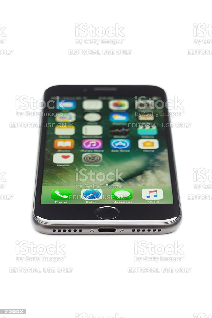 iPhone 7's  lightning port isolated on white stock photo