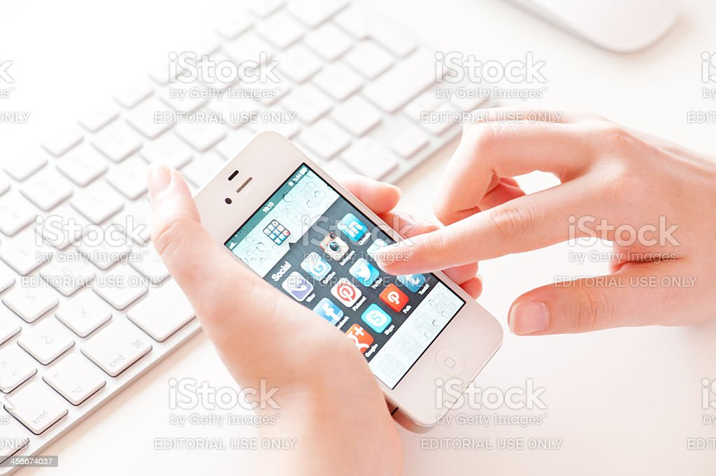 iPhone and Social Media royalty-free stock photo