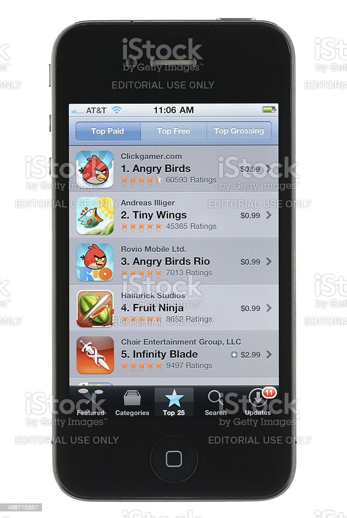 iPhone App Store Top Paid royalty-free stock photo