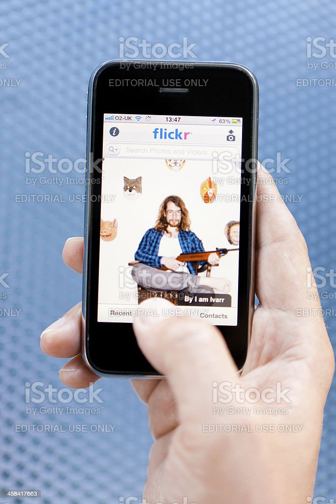 iPhone connected to Flickr royalty-free stock photo
