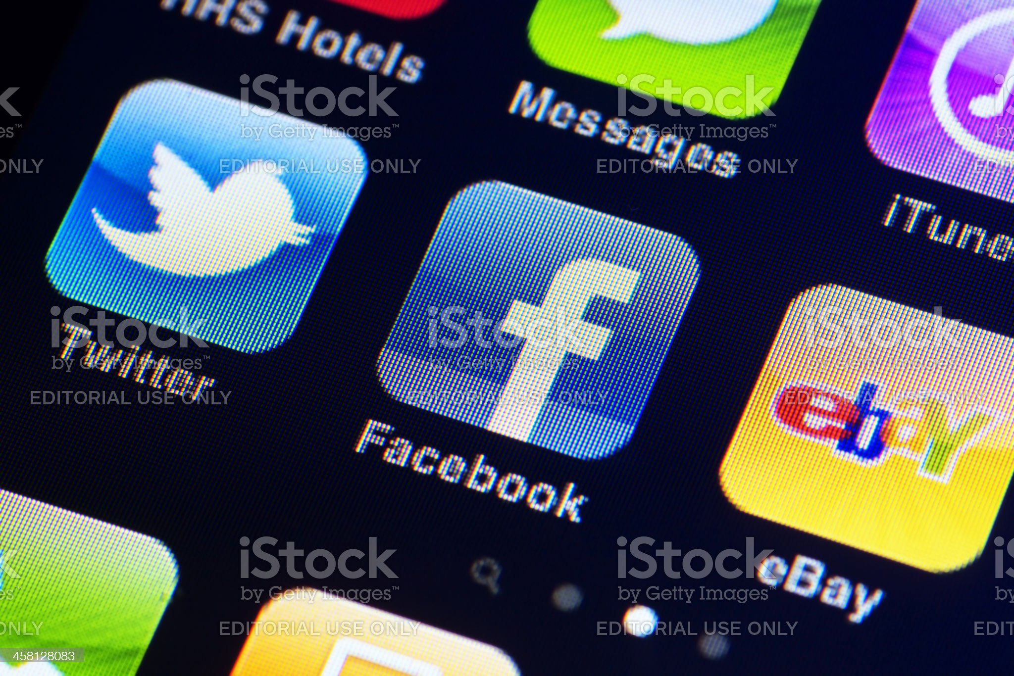 Iphone display with apps royalty-free stock photo