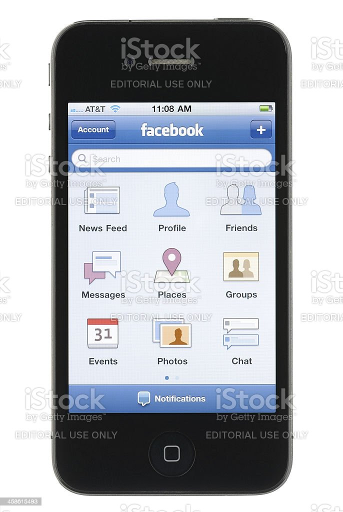 iPhone Facebook App royalty-free stock photo
