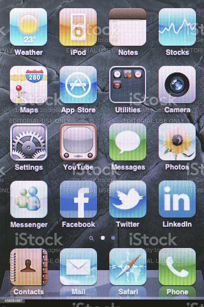 Iphone Home Screen & Applications royalty-free stock photo