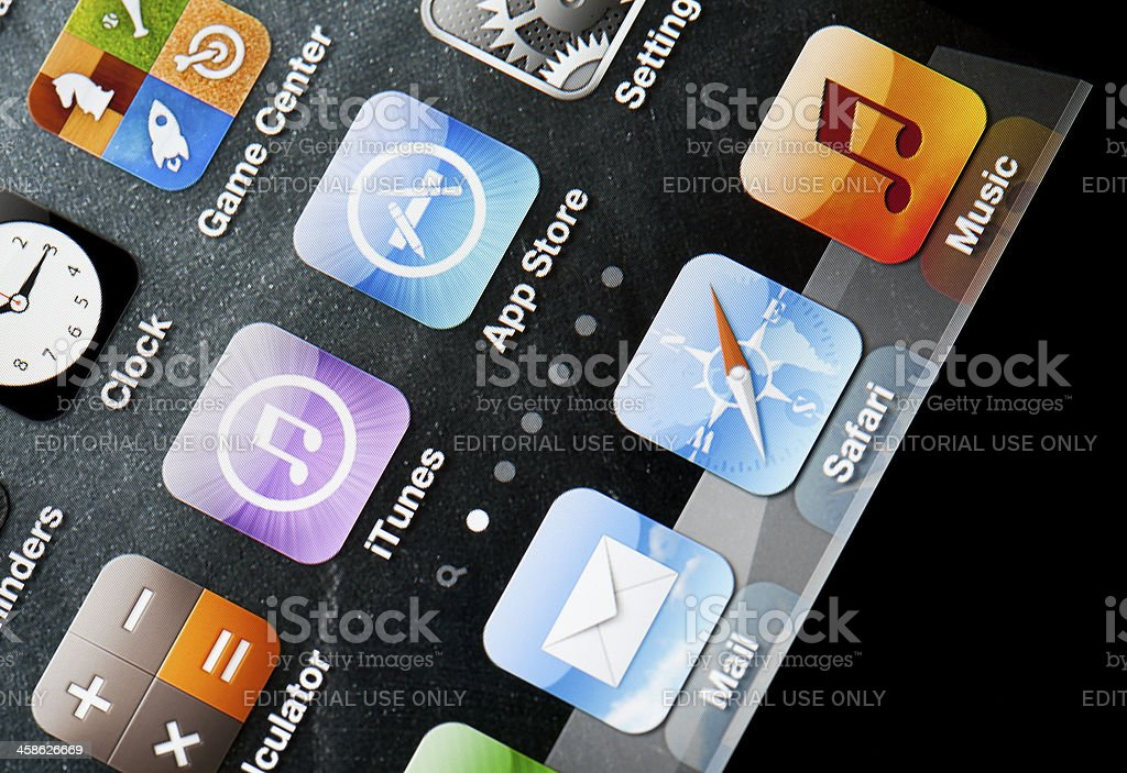 Iphone home screen with built-in apps royalty-free stock photo