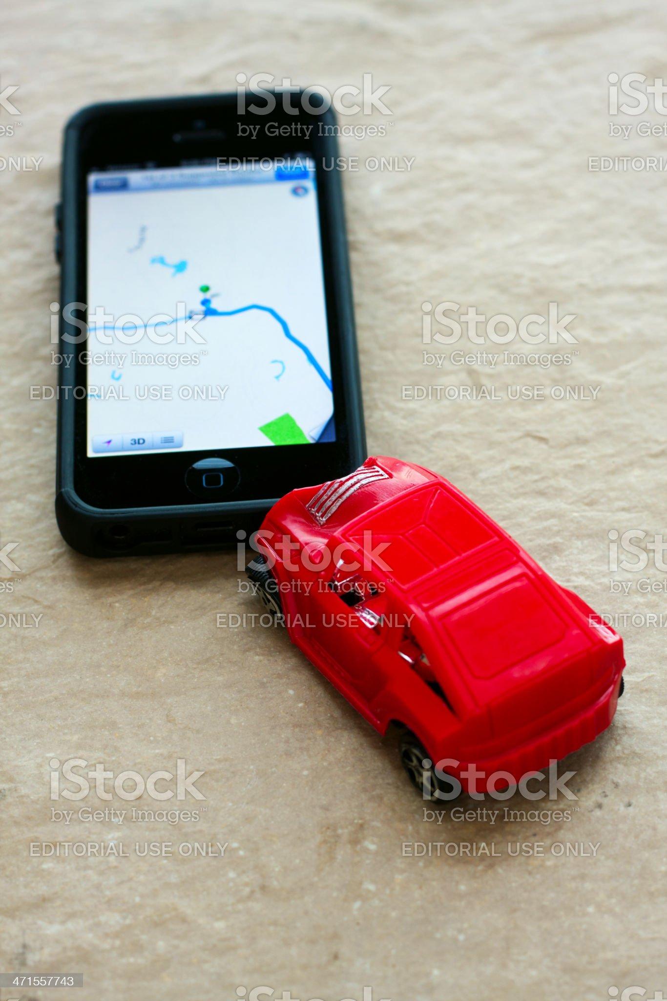 iPhone Maps Car Crash royalty-free stock photo
