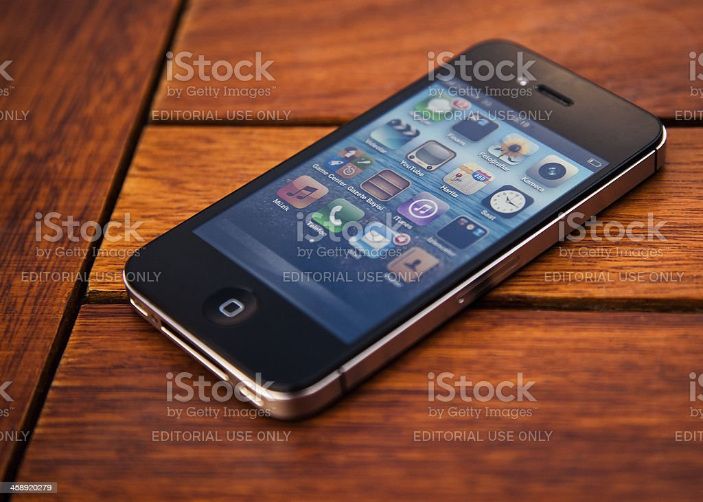 iPhone on a table stock photo